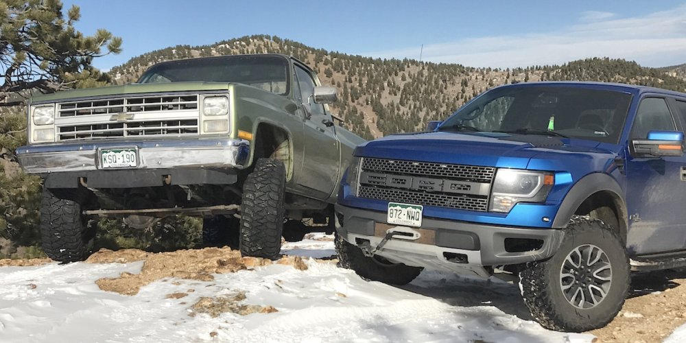 old vs new 2014 ford raptor 1985 chevy k10