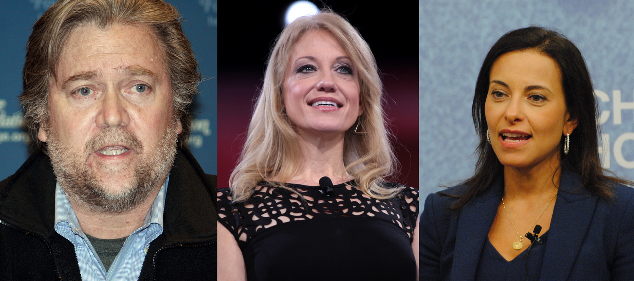 Steve Bannon Kellyanne Conway Dina Habib Powell photo courtesy of commons.wikimedia.org