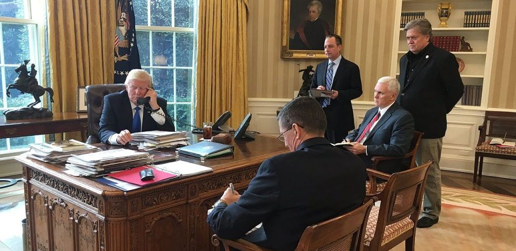 Trump speaking with Putin Oval Office photo Sean Spicer White House press secretary