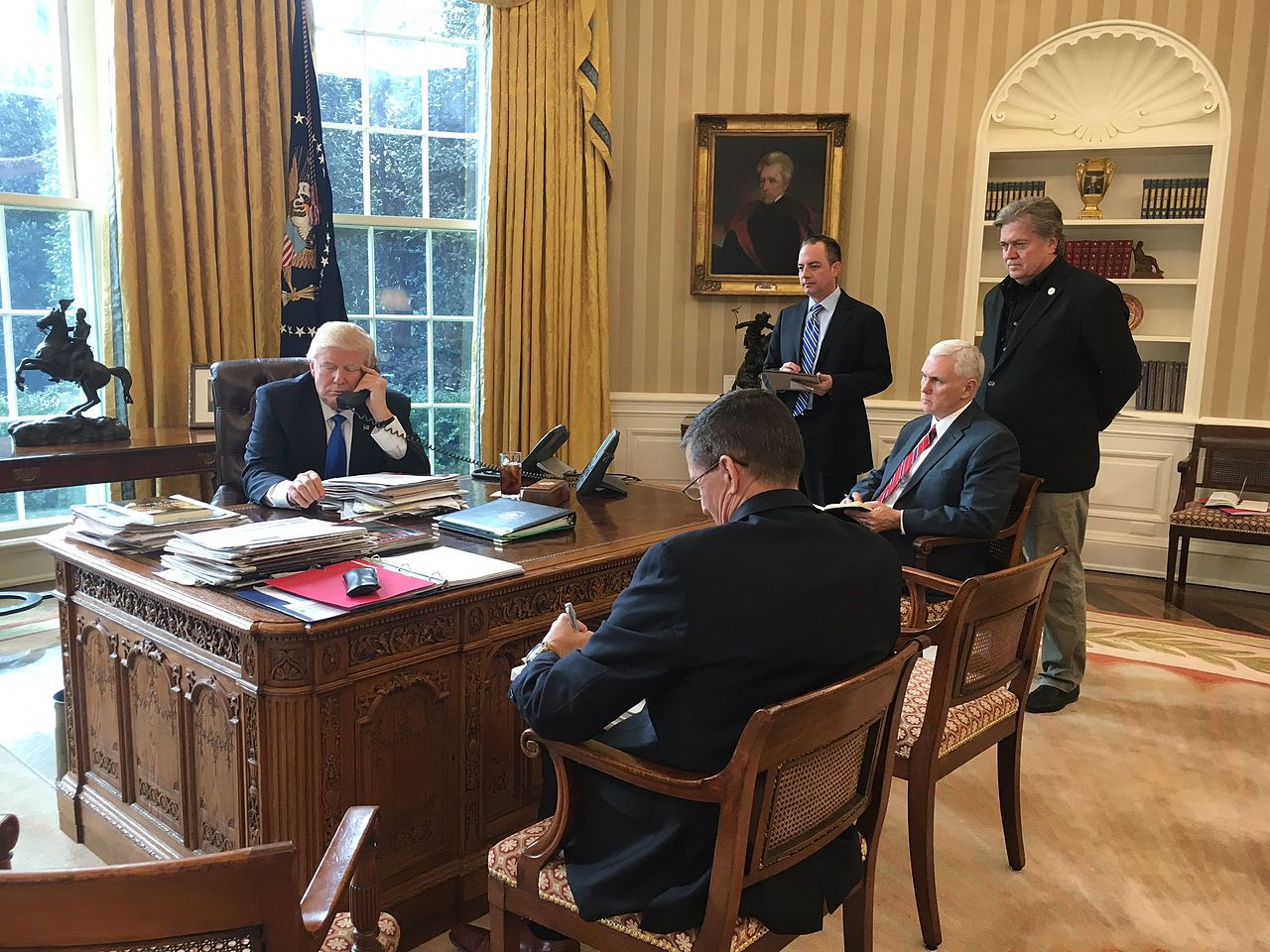 Trump speaking with Putin Oval Office photo Sean Spicer White House press secretary