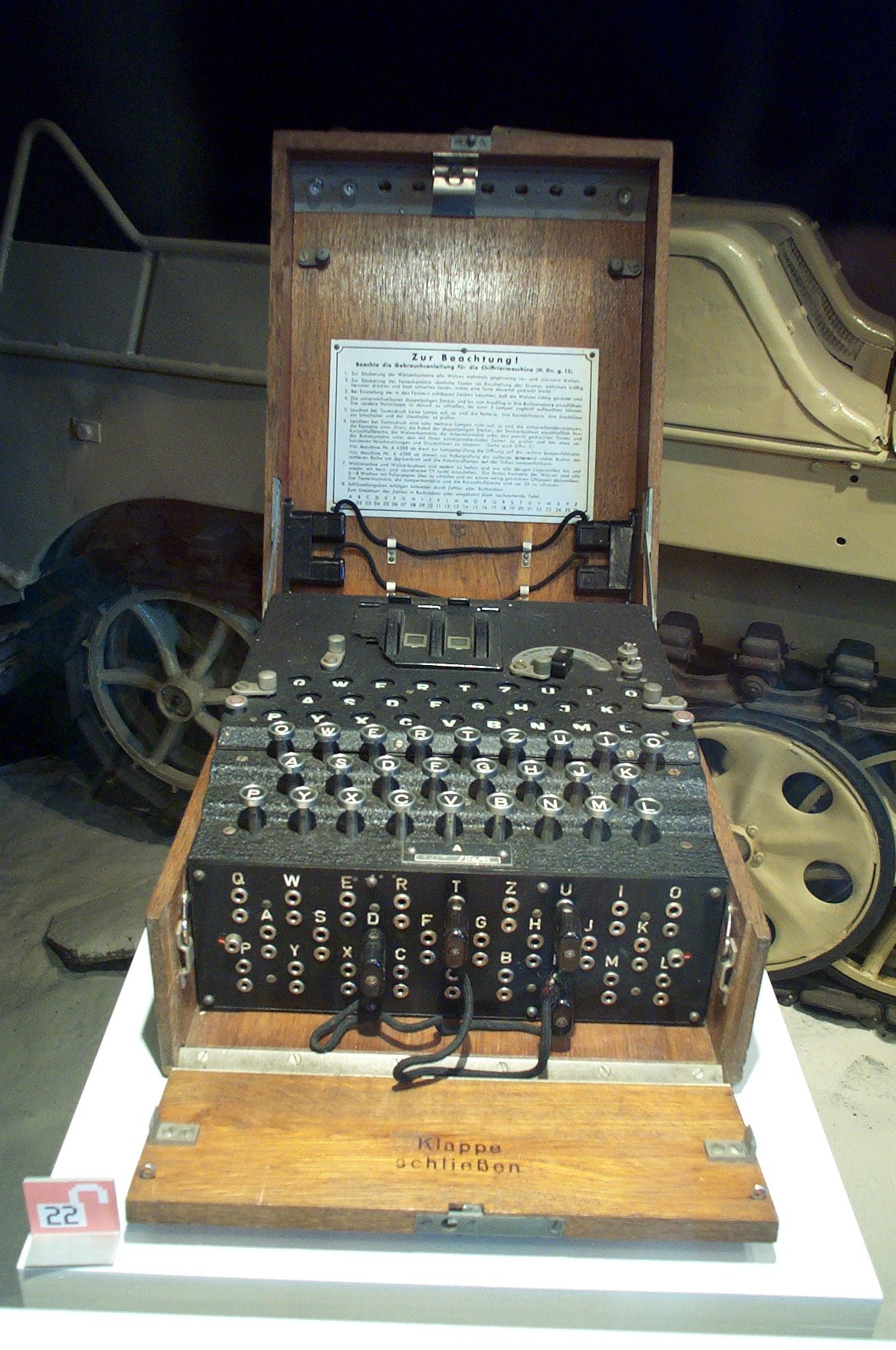 Enigma machine shown at the Swiss Transport Museum Lucerne photo Little Joe