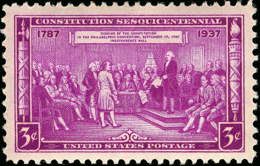 US Postage Stamp depicting delegates at the signing of the US Constitution photo Bureau of Engraving and Printing