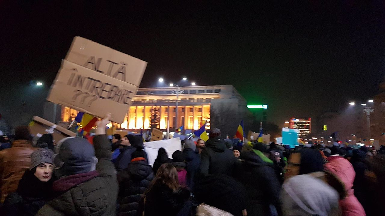 The protest that took place in Bucharest on 1 February 2017 in front of the Government building photo Babu