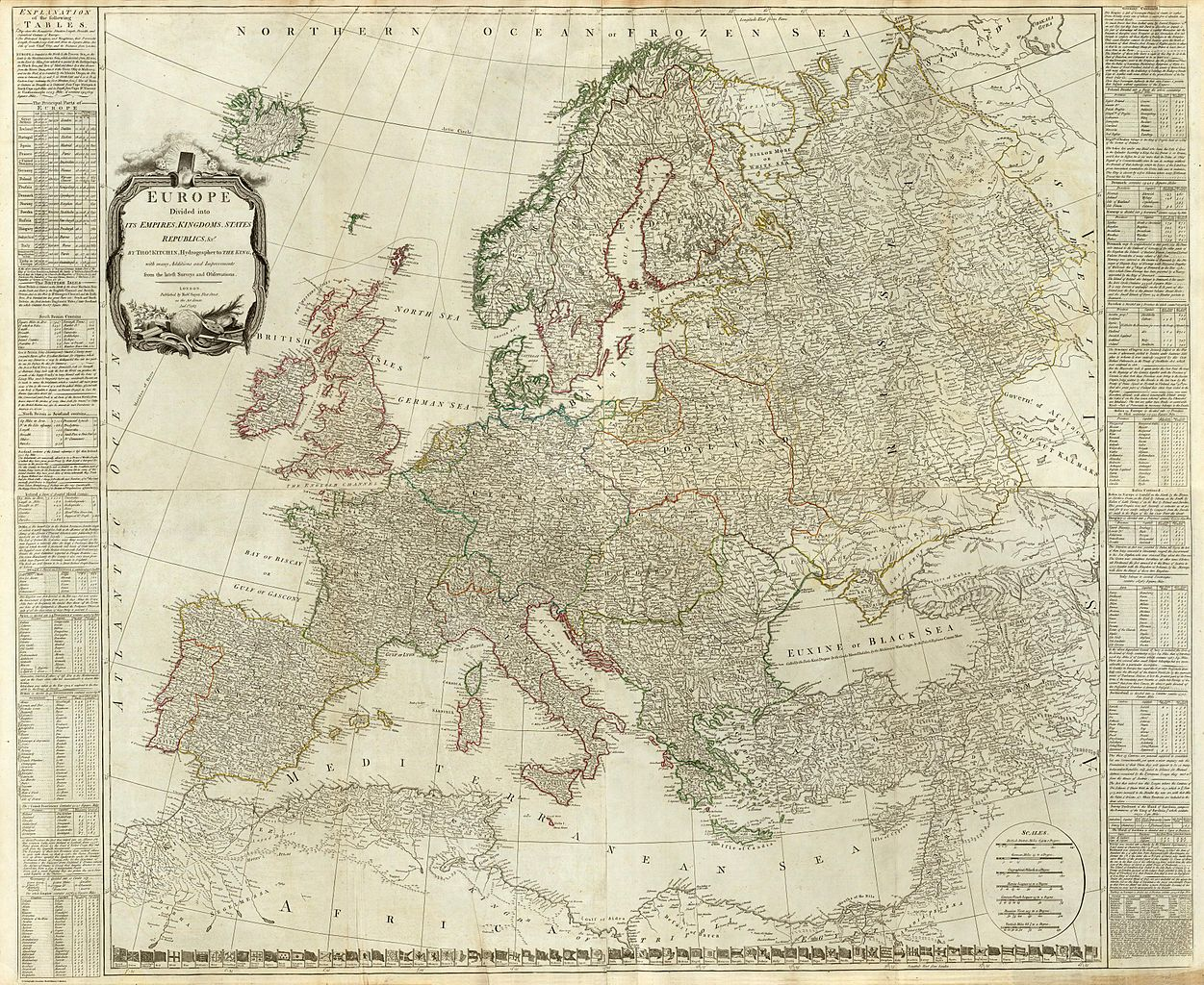 Composite of Europe divided into its empires kingdoms states republics by Thomas Kitchin commons.wikimedia.org