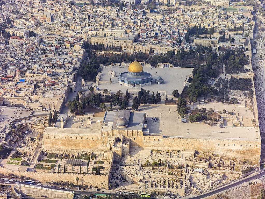 Southern aerial view of the Temple Mount Al Aqsa Mosque photo by Godot13