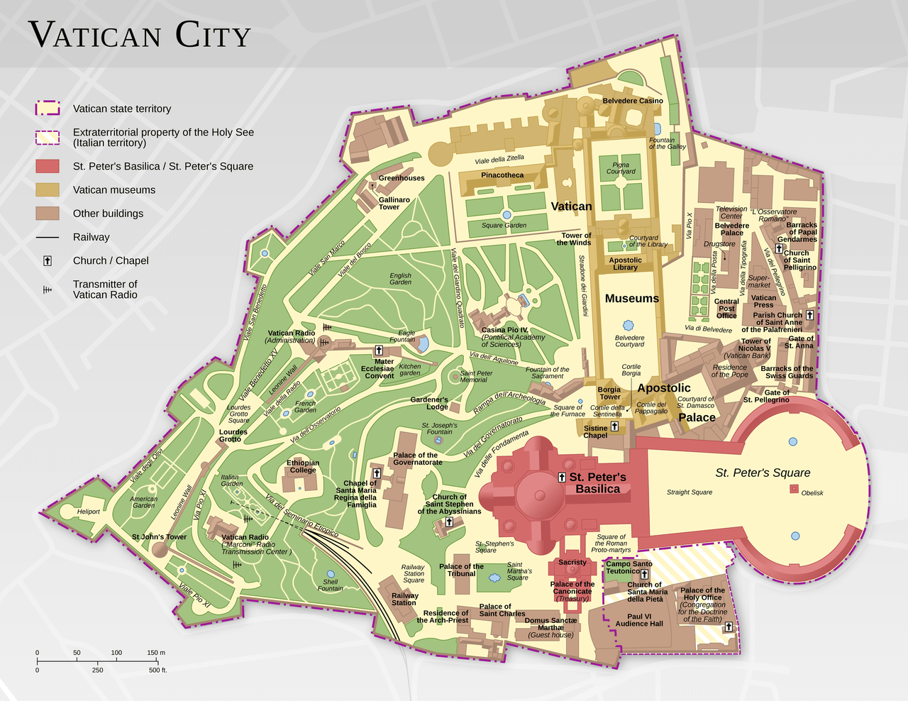 Vatican City map Francesco Piraneo G.