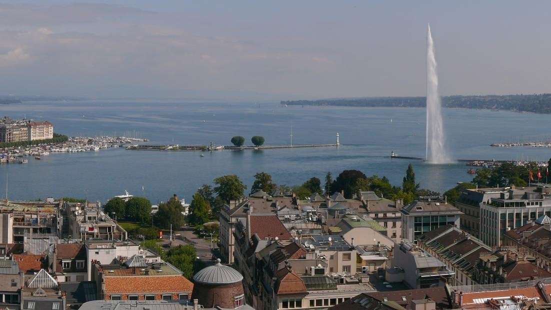 cropped Panoramic View of Geneva from the Tower of St Peters Cathedral by Attila Terbócs 1