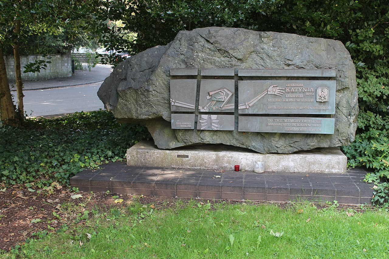 Katyn Memorial by Alexander Paul Klecki 1985 grounds of Bristol Roman Catholic Cathedral Clifton Bristol by 14GTR