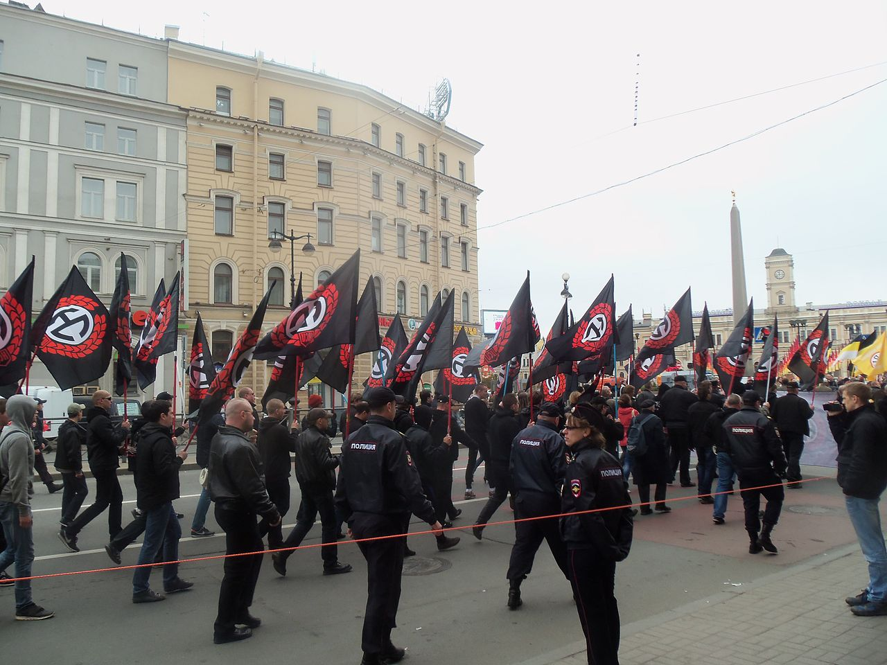 National Socialists Marching near Vosstaniya Square in St. Petersburg on 1 May 2014 Ain92