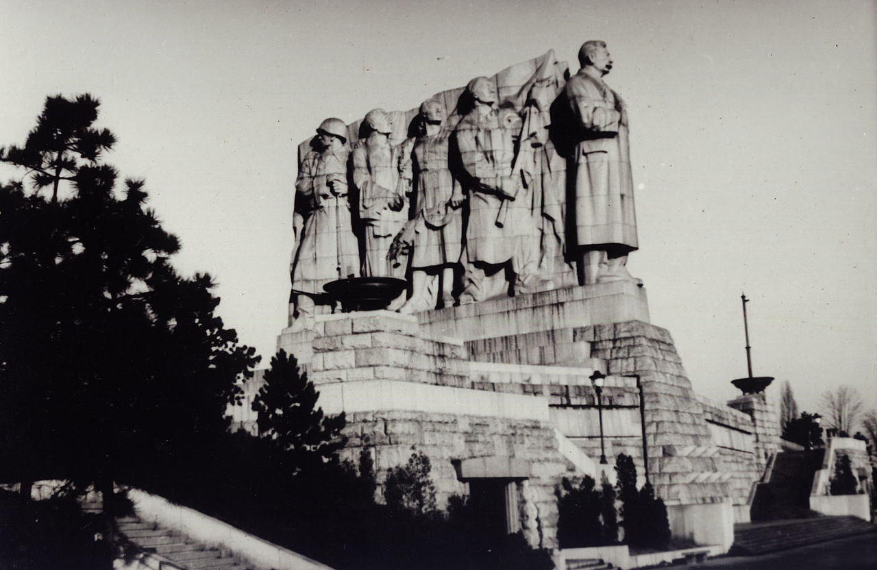 Socialist realism art Gigantic monument in honour of Joseph Stalin in Prague Letna