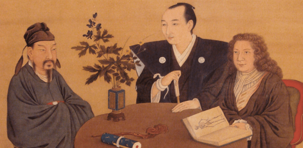 A meeting of Japan, China and the West. Late 18th century, by Shiba Kokan.