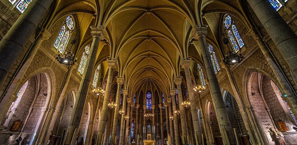 Interior of the Basilique Notre Dame a Nice France by Miguel Mendez