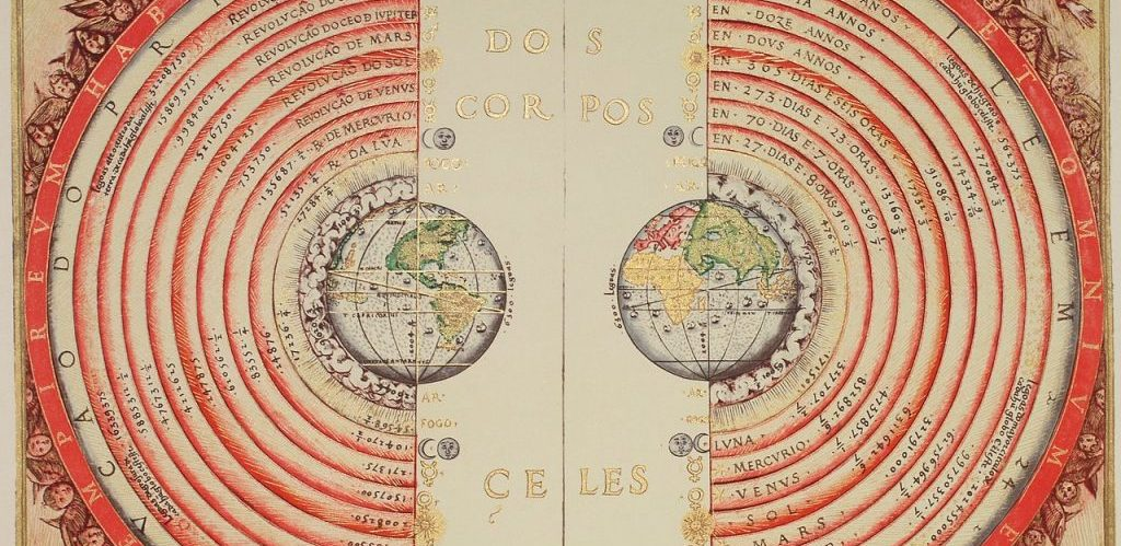 Figure of the heavenly bodies Illuminated illustration of the Ptolemaic geocentric conception of the Universe by Portuguese cosmographer and cartographer Bartolomeu Velho