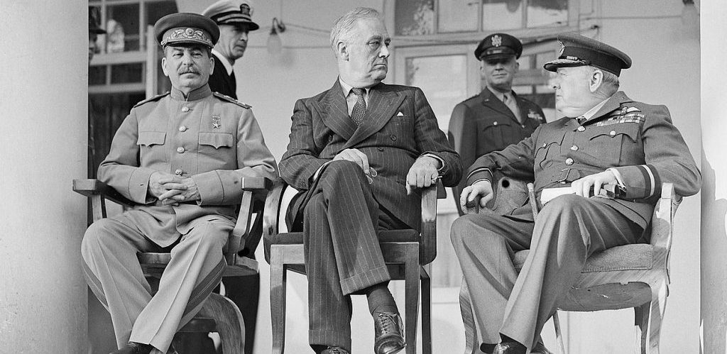 Joseph Stalin Franklin D. Roosevelt and Winston Churchill in Teheran by Oulds D C Lt Royal Navy official photographer