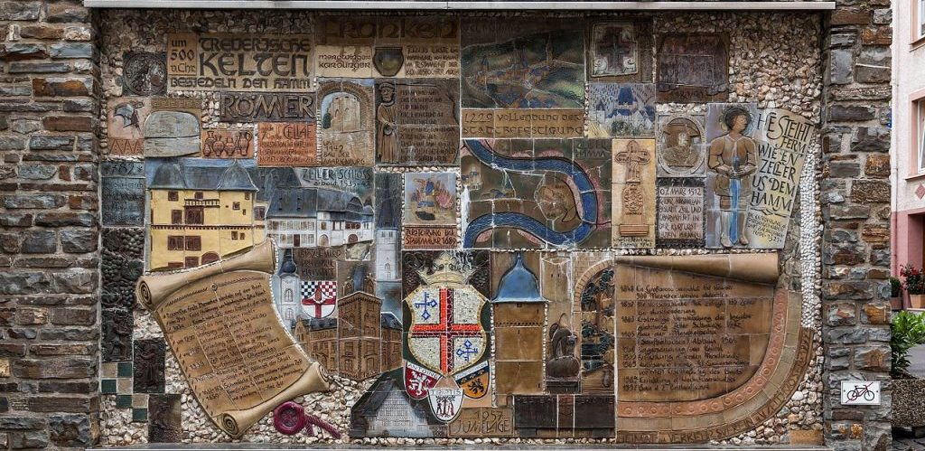 Mosaic of the city history Zell Rhineland Palatinate Germany by Dietmar Rabich