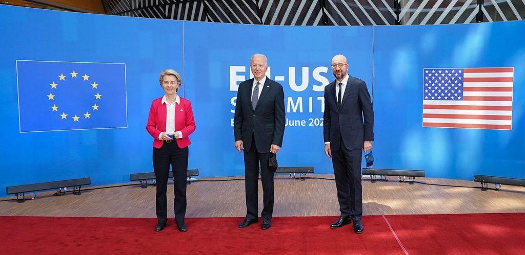 President Joe Biden with European Council President Charles Michel and European Commission President Ursula von der Leyen