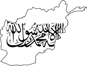 Map of Afghanistan with the flag of the Taliban by Afon99
