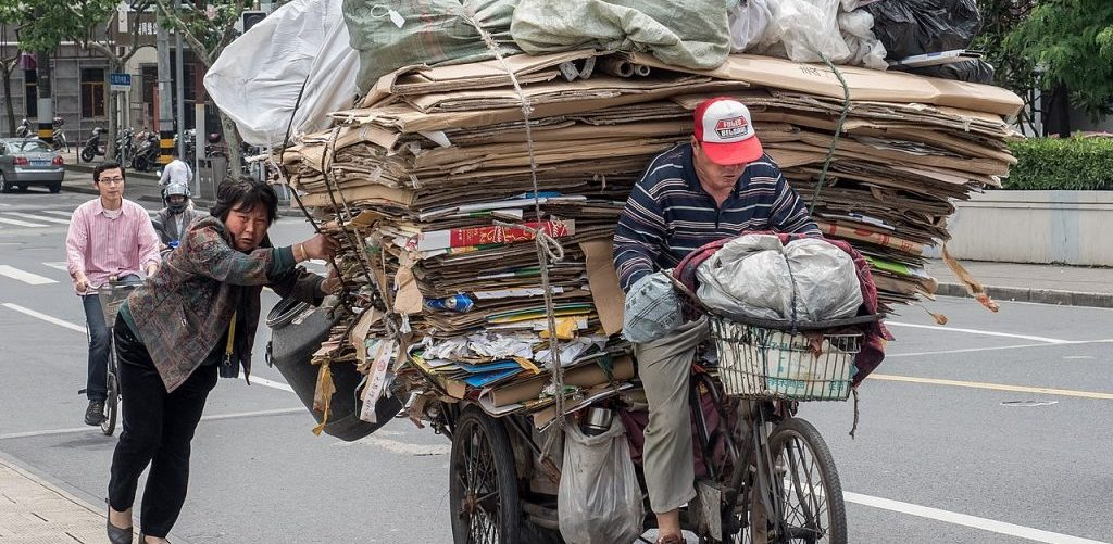 Transport of Recycled Material on a Freight Bicycle in Shanghai by Ermell