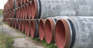 Stack of pipestubes for natural gas pipeline North Stream 2 at Mukran port September 2020