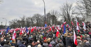 A demonstration organised by the Committee for the Defence of Democracy KOD in front of the Sejm in Warsaw by Adrian Grycuk